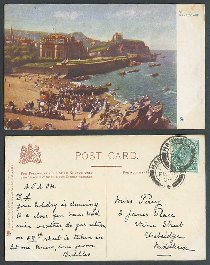 Devon At Ilfracombe 1911 Old Tuck's Postcard Beach Seaside Panorama England Flag