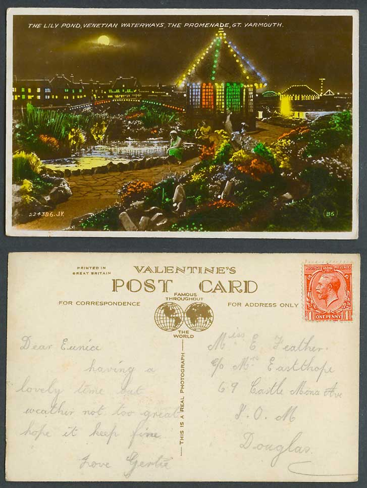 Great Yarmouth 1d Old Postcard Venetian Waterways Lily Pond Promenade Moon Night