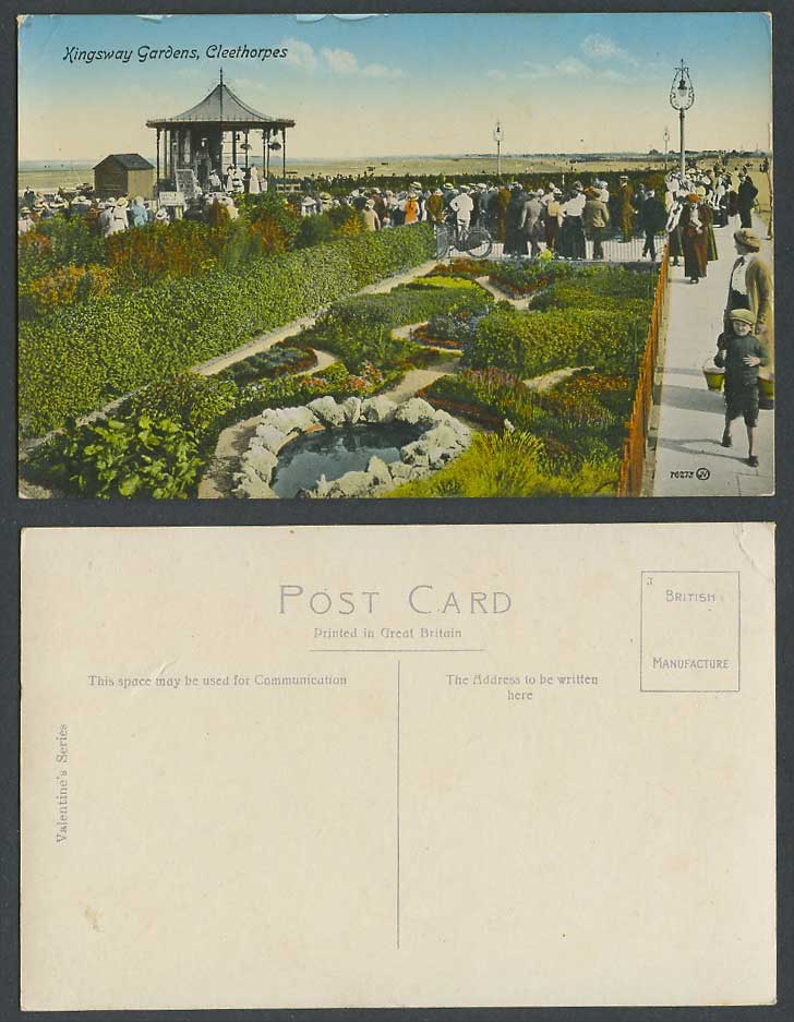 Cleethorpes, Kingsway Gardens, Pond Bandstand Bicycle, Lincolnshire Old Postcard