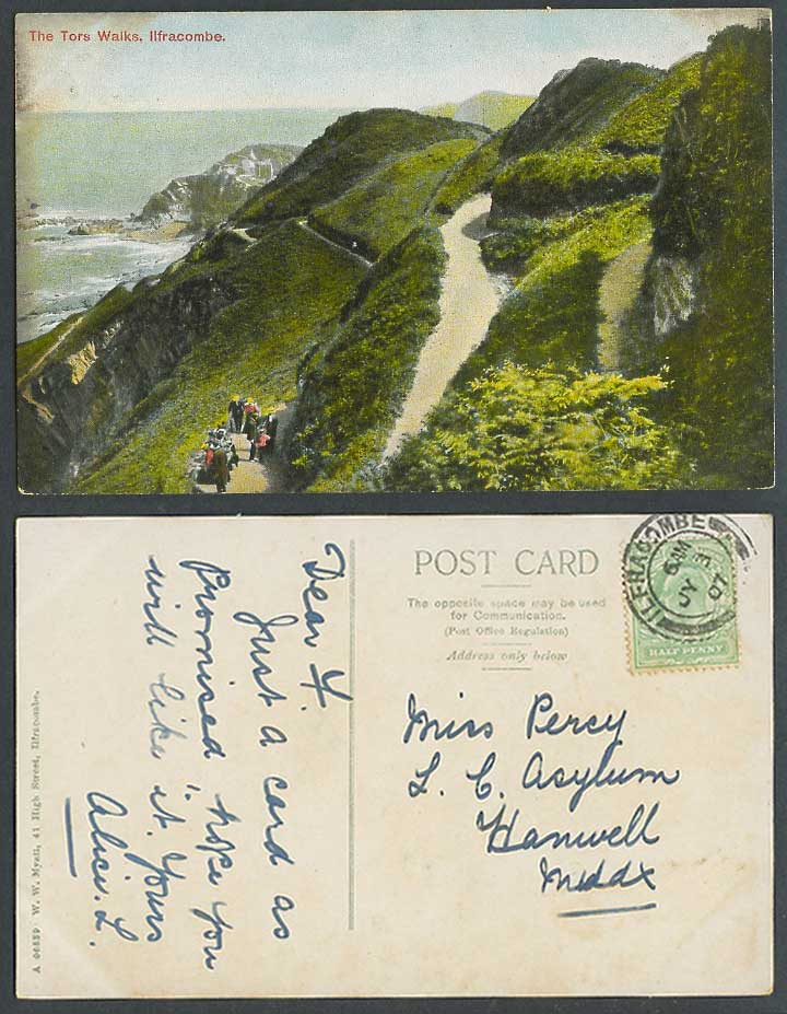 Ilfracombe Devon 1907 Old Colour Postcard The Tors Walks, Hills Coast W.W. Myatt