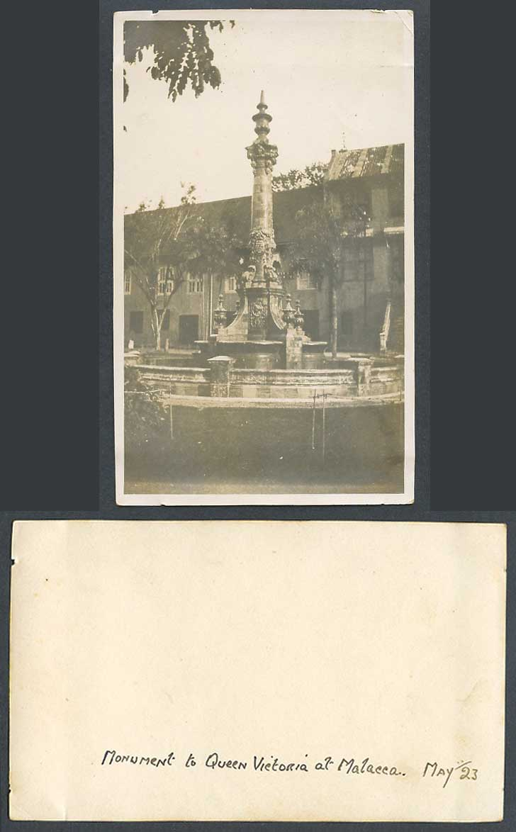 Malacca Monument to Queen Victoria May 23 Fountain Singapore Old Real Photo Card