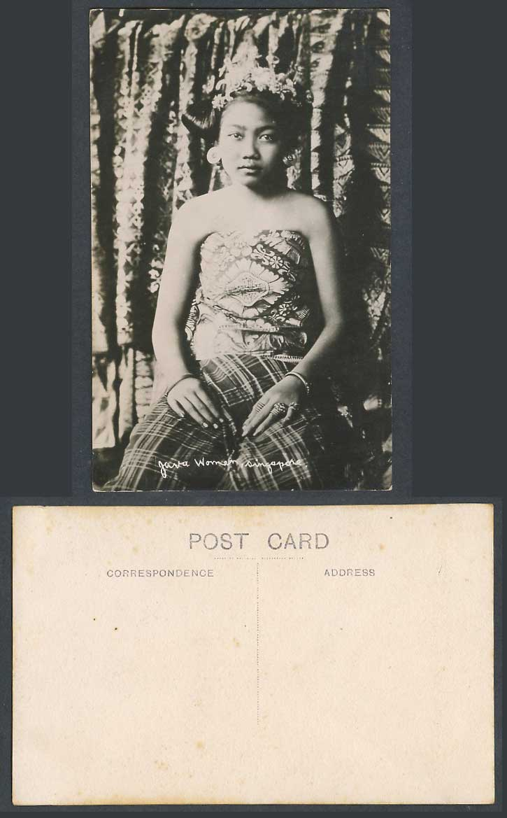 Singapore Old Real Photo Postcard Java Woman, Javanese Lady Traditional Costumes