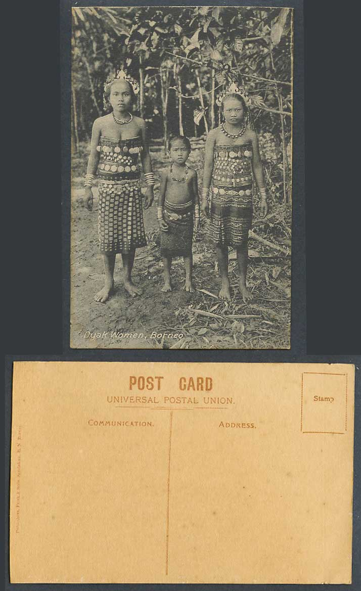 British North Borneo Old Postcard Dyak Women and Girl Dyaks Traditional Costumes