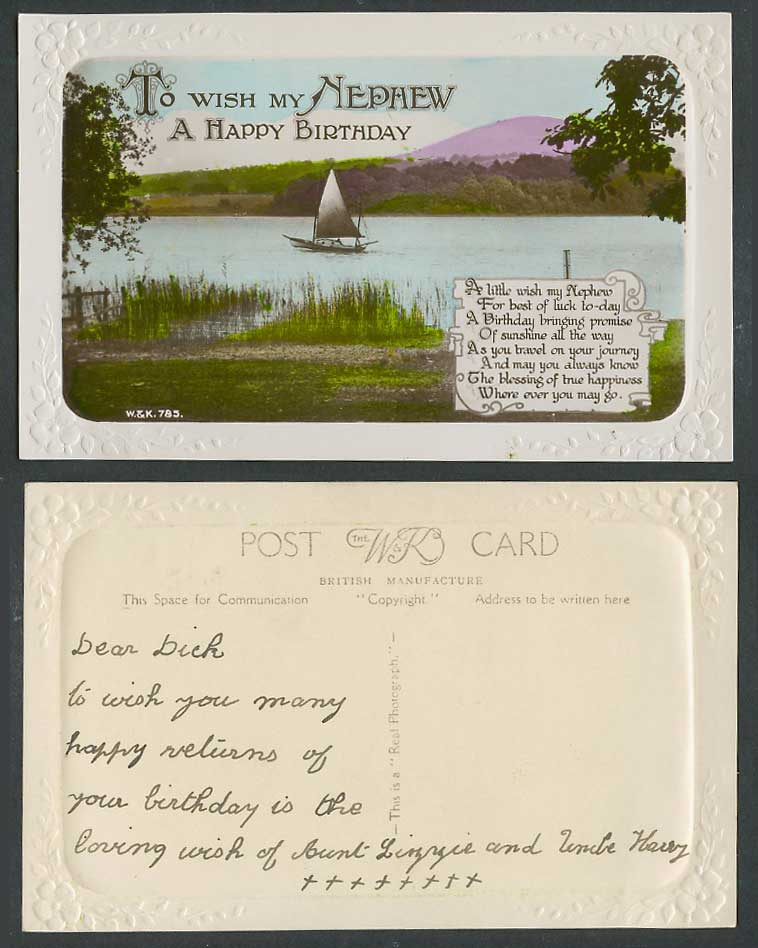 To Wish My Nephew A Happy Birthday, Greetings Sailing Boat Old Embossed Postcard
