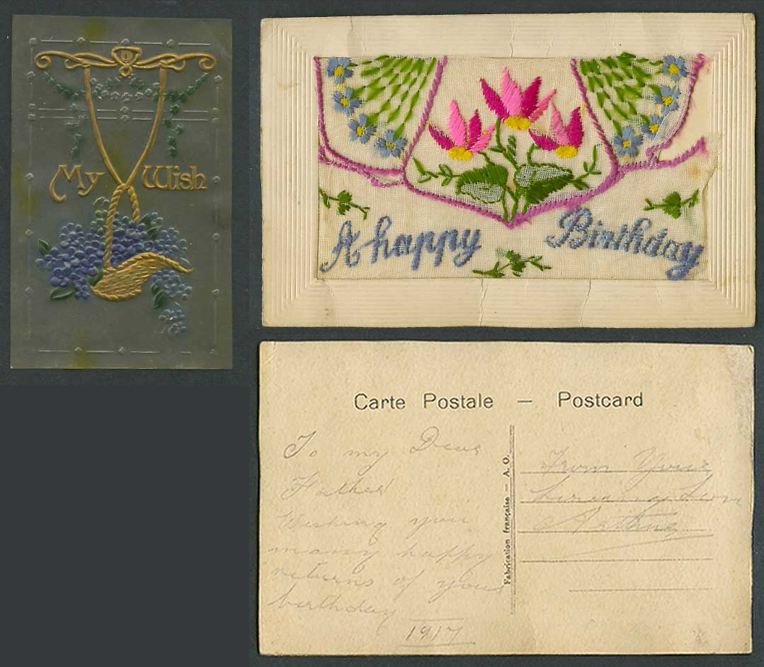 WW1 SILK Embroidered 1917 Old Postcard Happy Birthday MyWish Plastic Card Wallet