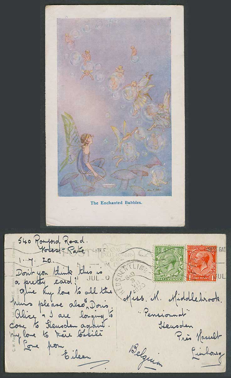 Artist Signed Fairies The Enchanted Bubbles 1920 Old Postcard Fairy on Mushrooms