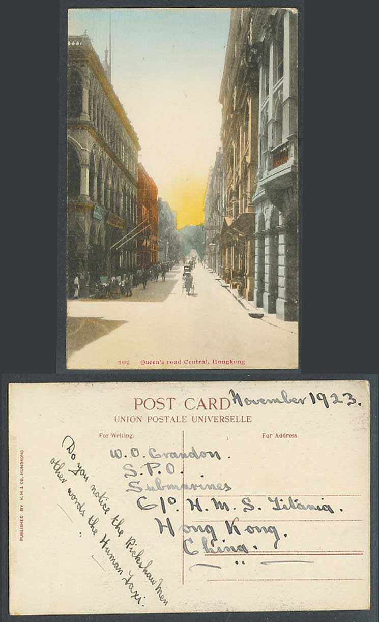 Hong Kong China 1923 Old Hand Tinted Postcard Queen's Road Central, Street Scene