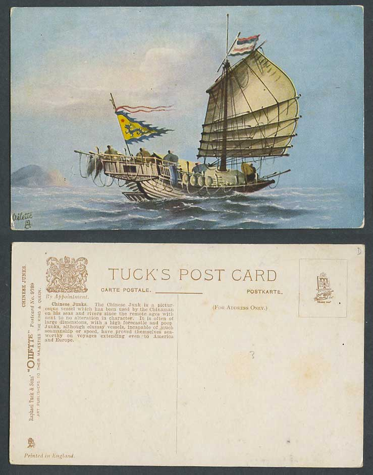 Hong Kong China Old Tuck's Oilette Postcard Chinese Junk Native Boat Dragon Flag