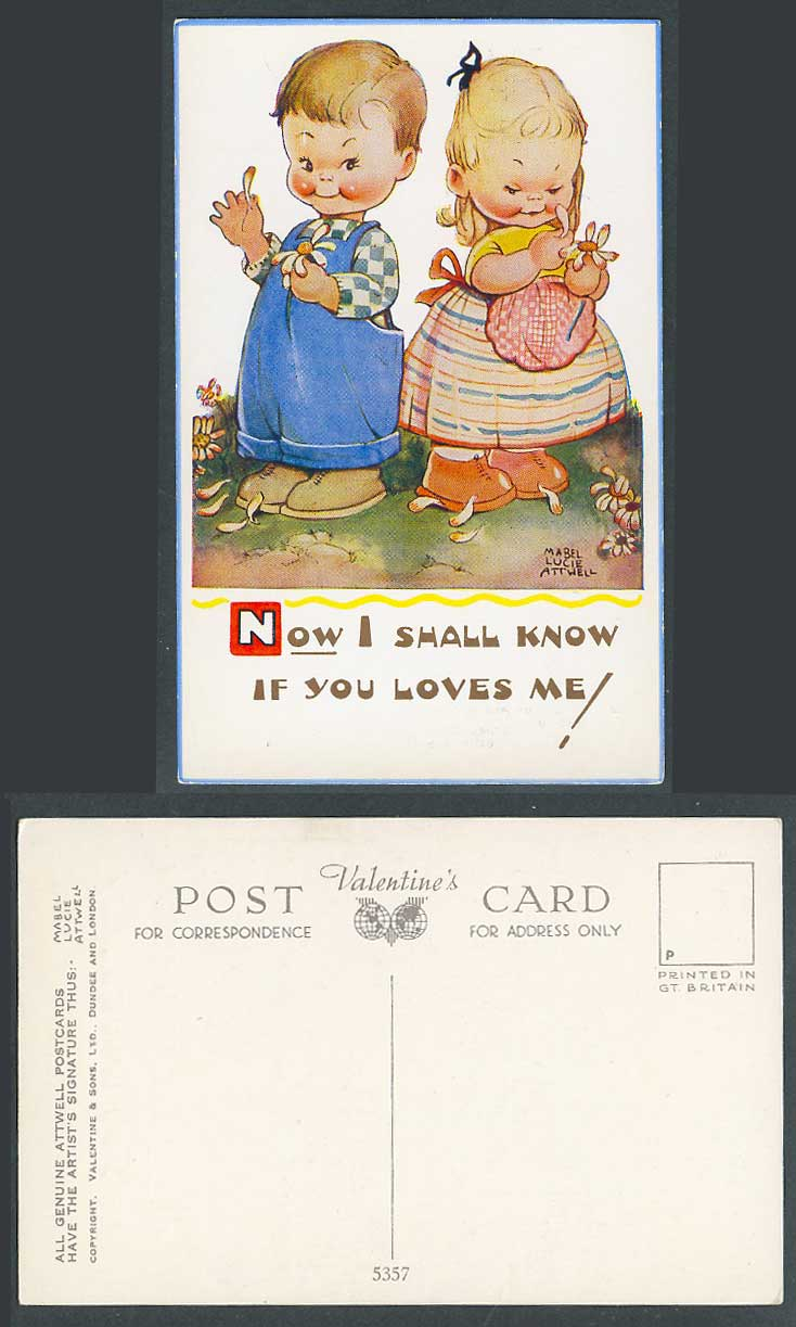 MABEL LUCIE ATTWELL Old Postcard Now I Shall Know If U Loves Me Count Petal 5357
