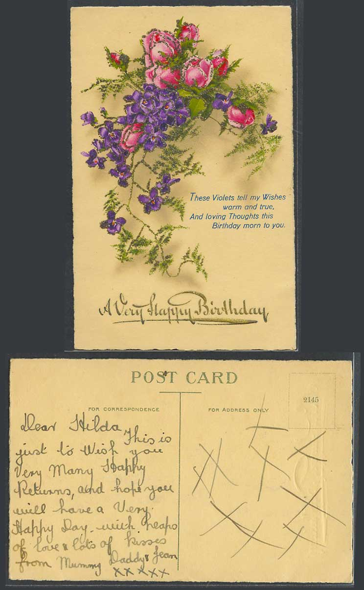 Very Happy Birthday Greetings Violets Flowers Novelty with Glitters Old Postcard