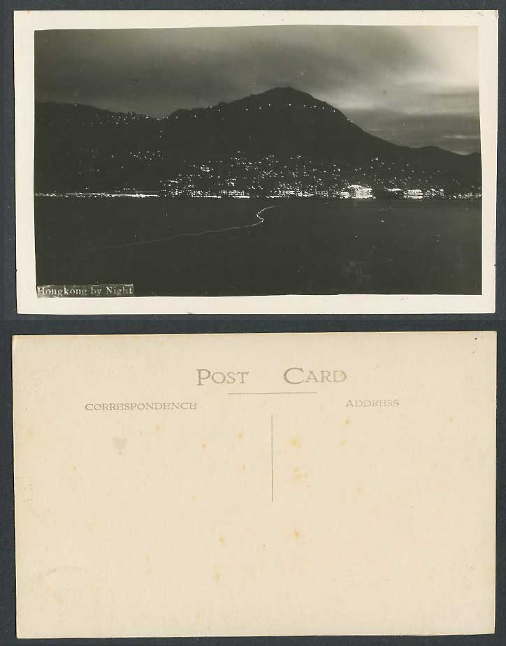 Hong Kong by Night Old Real Photo Postcard Harbour Mountains Illuminations China