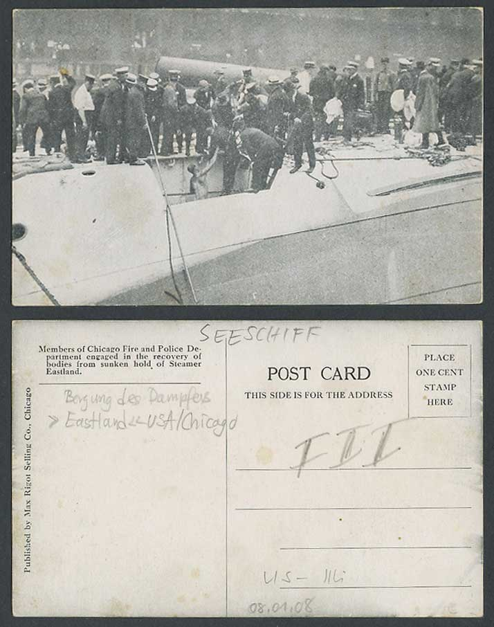 S.S. Eastland Steamer Ship Shipwreck, Chicago Fire and Police Dept. Old Postcard