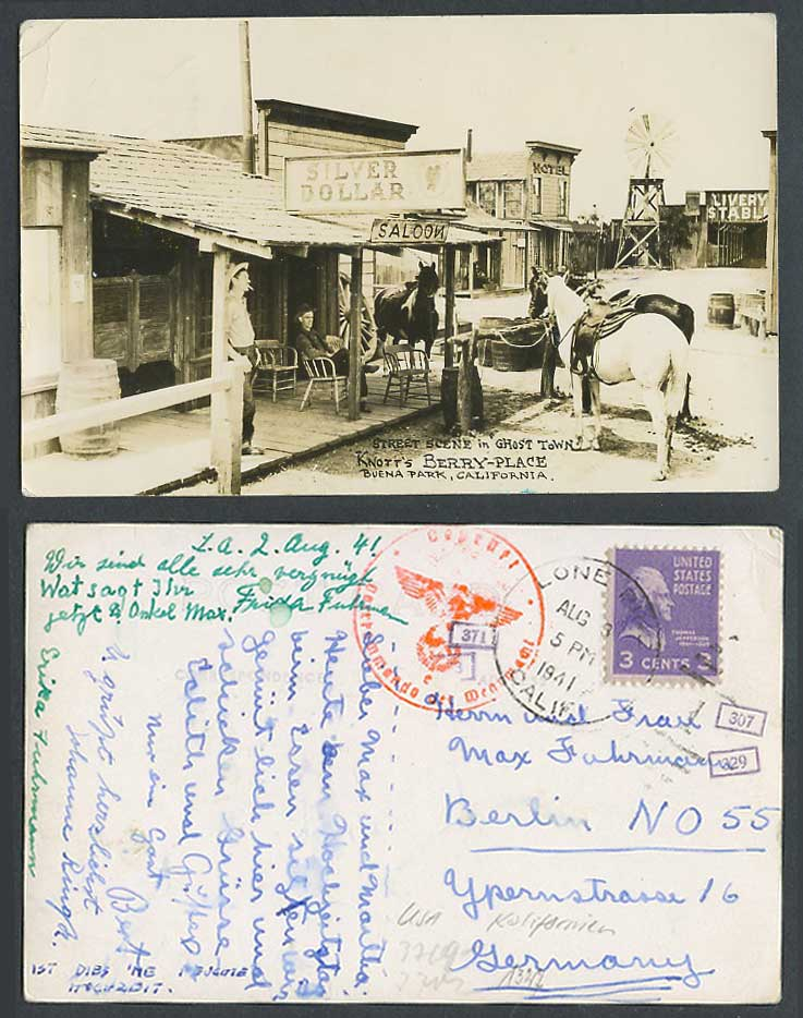 Silver Dollar Saloon Ghost Town Knott's Berry-Place Windmill Horse 1941 Postcard