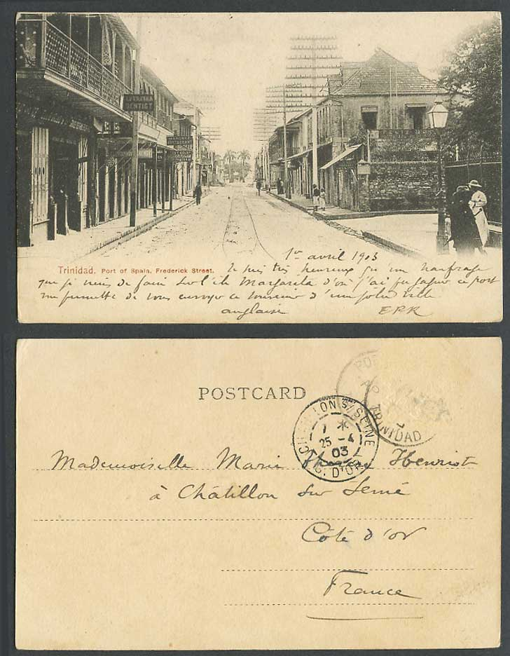 Trinidad 1903 Old UB Postcard Port of Spain Frederick Street, Dentist Restaurant