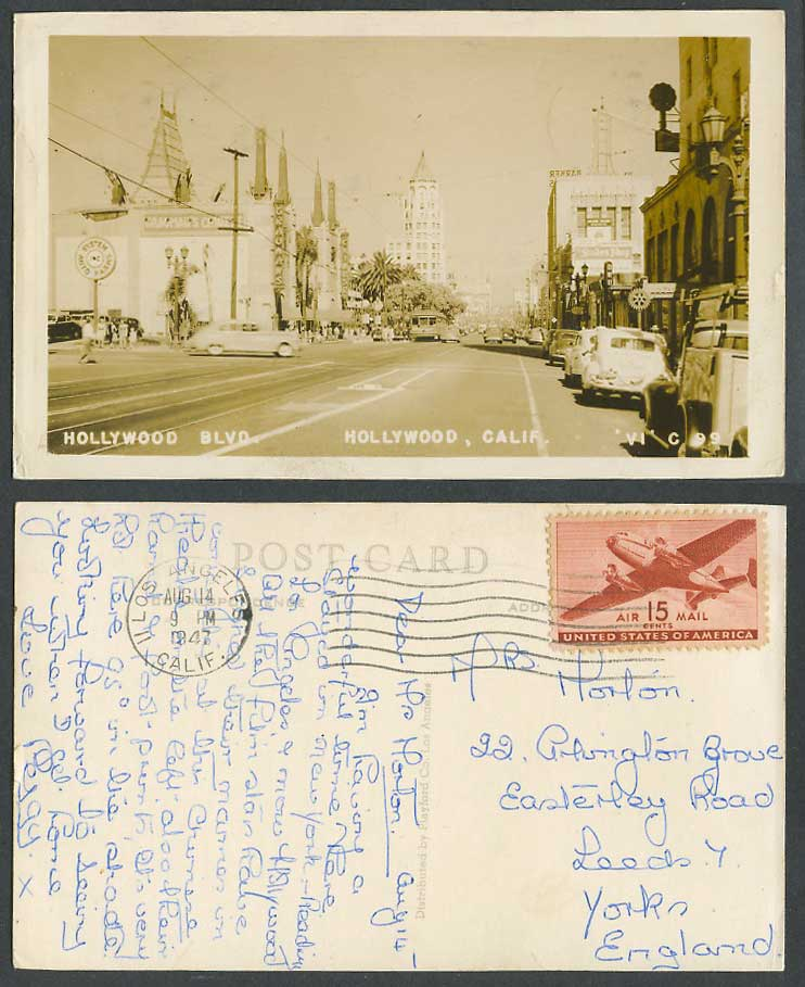 USA Calif 1947 Old RP Postcard Hollywood Boulevard Graumans Chinese Theatre TRAM