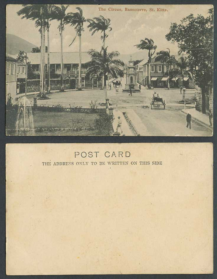 St. Kitts Old UB Postcard Basseterre, The Circus, Street Scene Clock Tower Carts