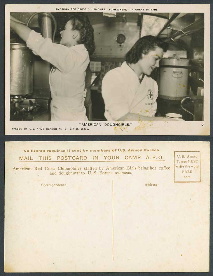 American Red Cross Clubmobile Doughgirls Passed by U.S. Army Censor Old Postcard