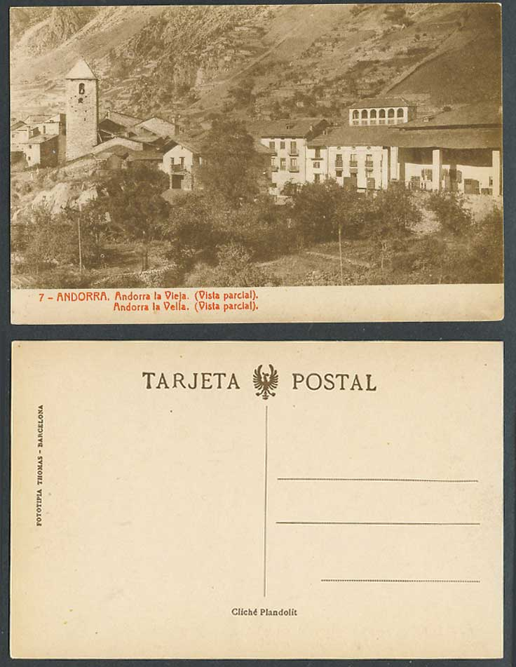 Andorra la Vieja Vistal Parcial Partial View Church Bell Tower Hill Old Postcard