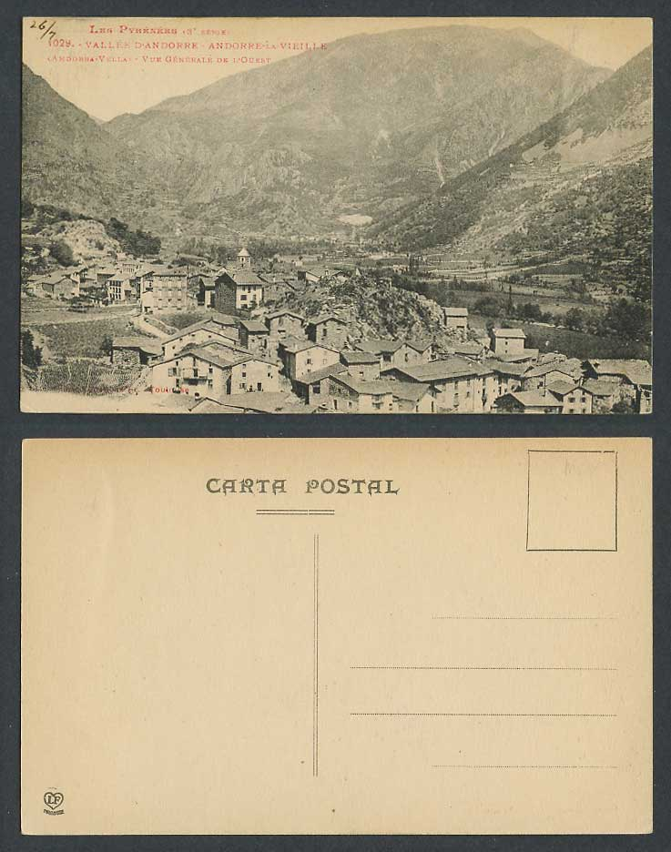 Andorra Old Postcard Les Pyrenees General View from West Valley Mountains Church