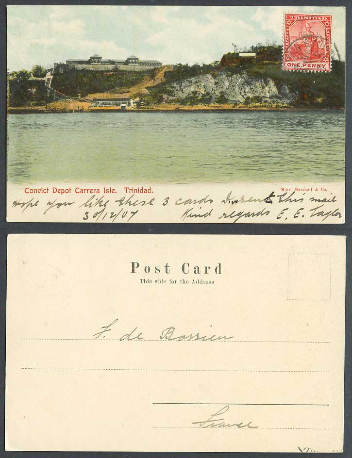 Trinidad 1d. 1907 Old Colour UB Postcard Convict Depot Carerra Isle, West Indies