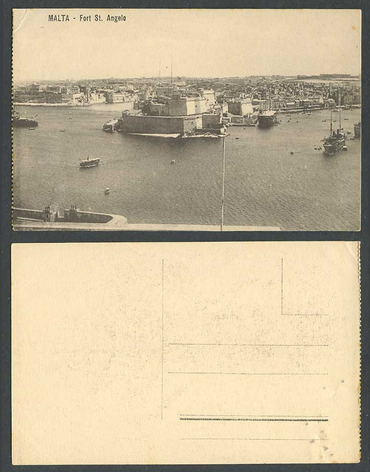 Malta Old Postcard Fort St. Angelo Fortress, Grand Harbour Ships Boats, Panorama