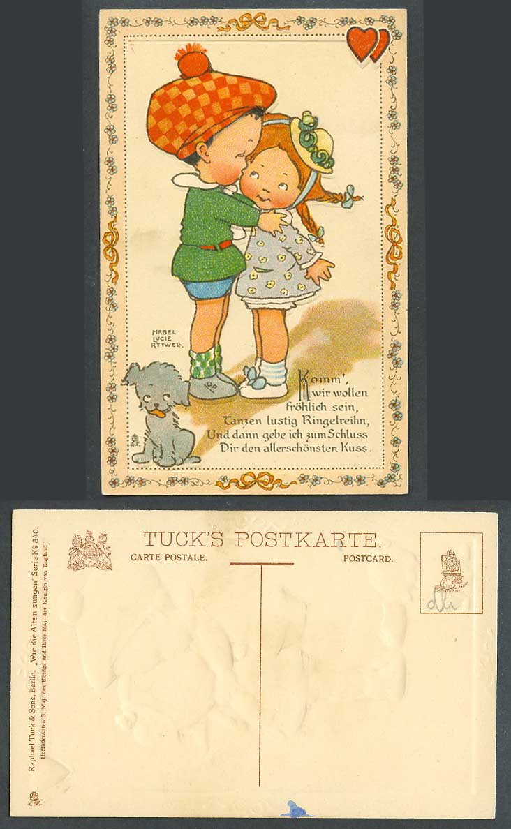 MABEL LUCIE ATTWELL Old Tuck's Postcard Boy Kissing Girl Dog, German Caption 840