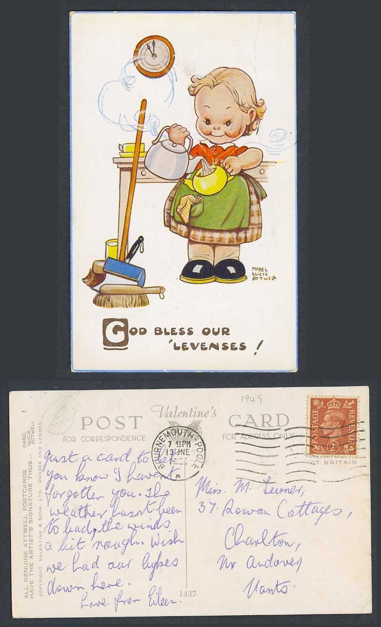 MABEL LUCIE ATTWELL 1950 Old Postcard God Bless Our Levenses! Kettle Teapot 1437