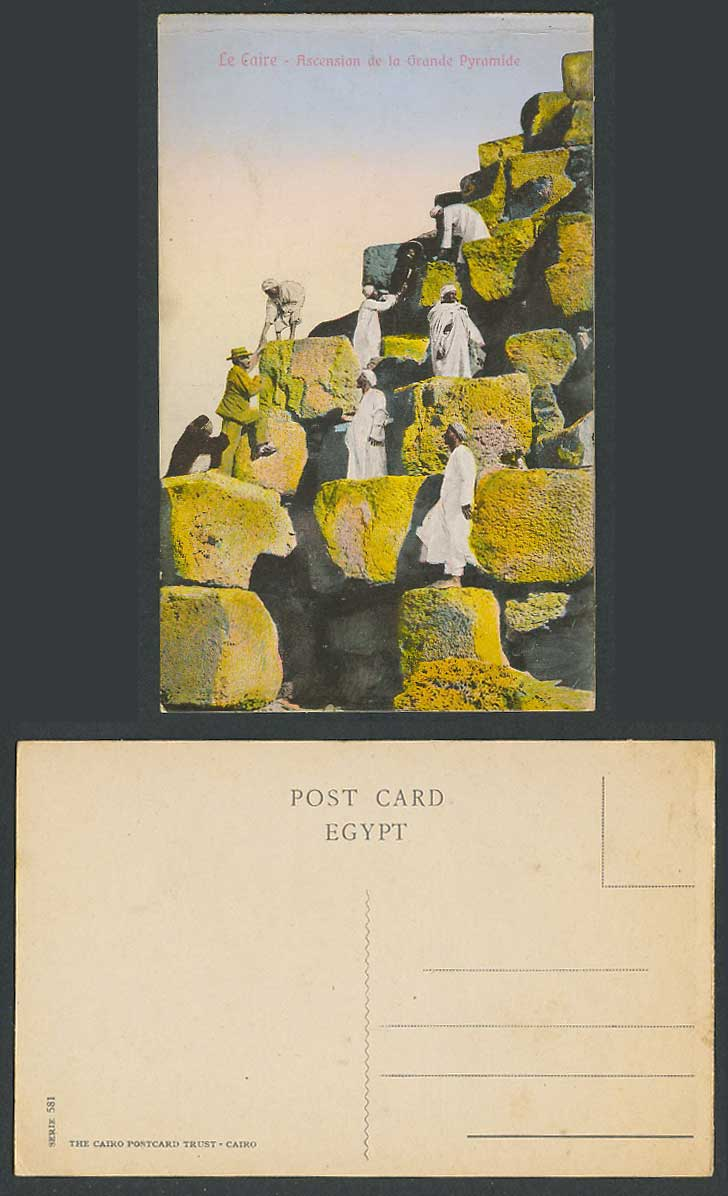 Egypt Old Postcard Cairo Caire Climbing Pyramid, Ascension de la Grande Pyramide