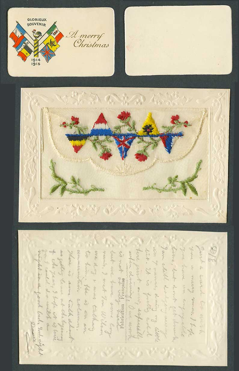 WW1 SILK Embroidered Old Postcard A Merry Christmas Rooster Bird 1914 -15 Wallet