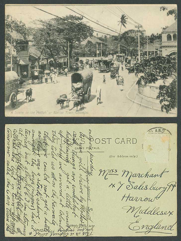 Ceylon Tuck's Old Postcard A Street Scene in Pettah or Native Town Colombo, TRAM