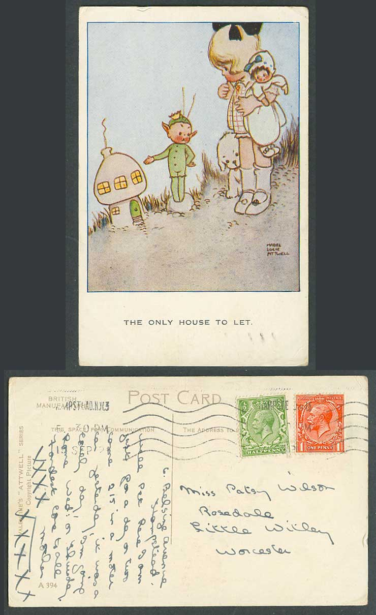 MABEL LUCIE ATTWELL 1921 Old Postcard The Only House to Let, Elf Fairy Doll A394