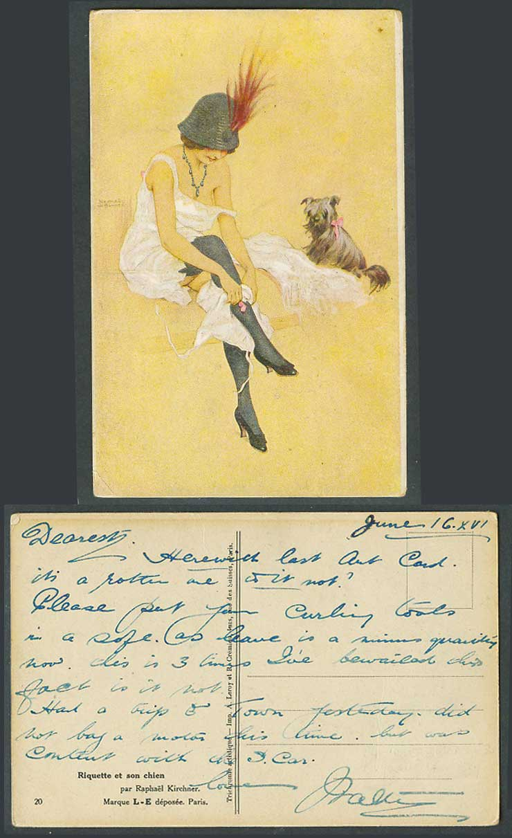 Raphael Kirchner 1916 Old Postcard Riquette et son chien, Glamour Lady & Her Dog