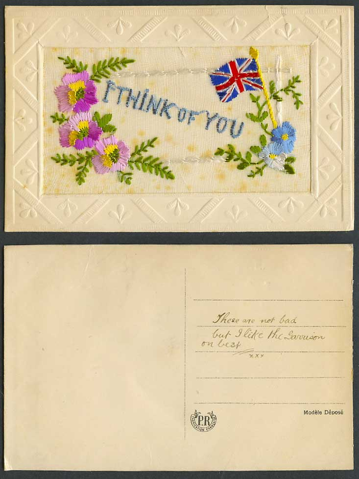 WW1 SILK Embroidered Old Postcard I'm Thinking of You, British Flag, Flowers