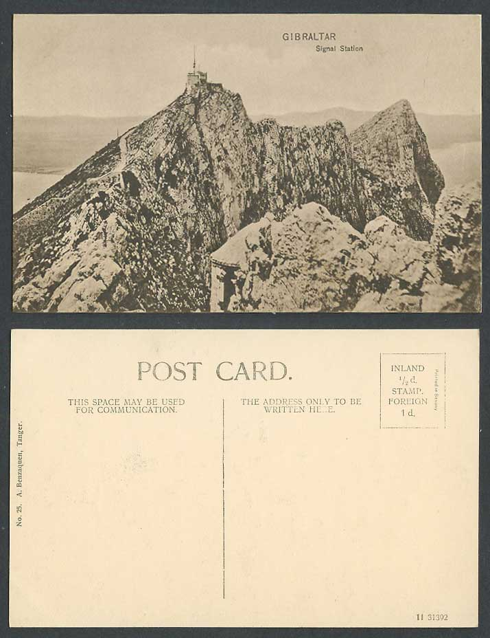 Gibraltar Old Postcard Signal Station on Summit Peak of Rocks A Benzaquen Tanger