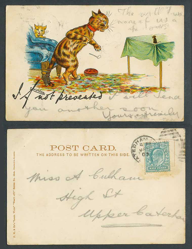 Louis Wain Artist Signed Cat Mouse If Not Prevented 1903 Old Postcard Write Away