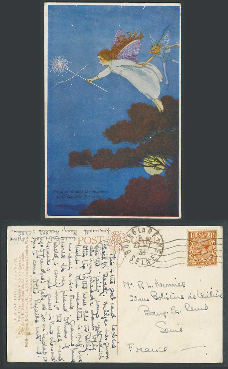 IR&G OUTHWAITE 1933 Old Postcard She Flew Through With GUMKIN Close Behind Fairy