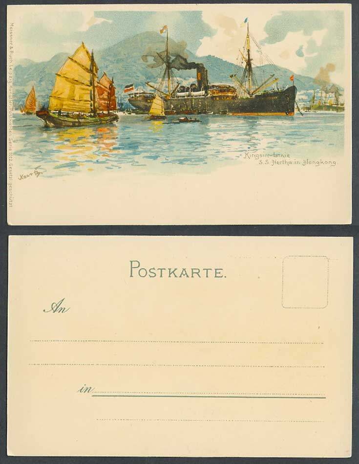 Hong Kong ART Old UB Postcard Kingsin-Linie S.S. Hertha Steam Ship Chinese Junks