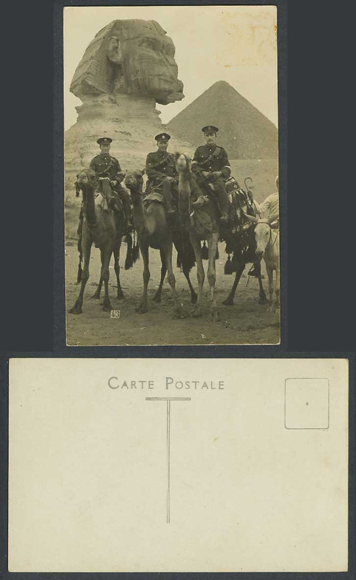 Egypt Old Real Photo Postcard Cairo Sphinx Pyramid WW1 Soldiers Camels Guide, 40