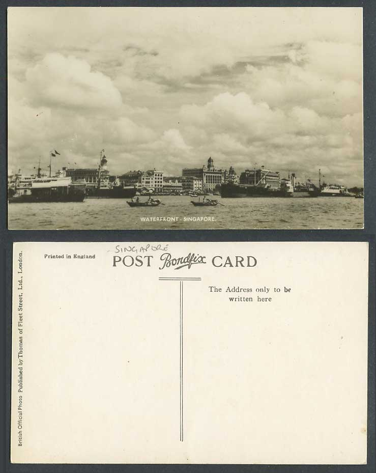 Singapore Old Real Photo Postcard Waterfront Steam Ship Boats Steamer Buildings