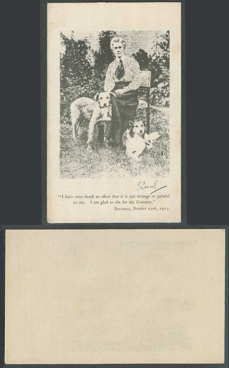 WW1 Woven Silk 1915 Old Card Miss Edith Cavell Signature Nurse Humanitarian Dogs