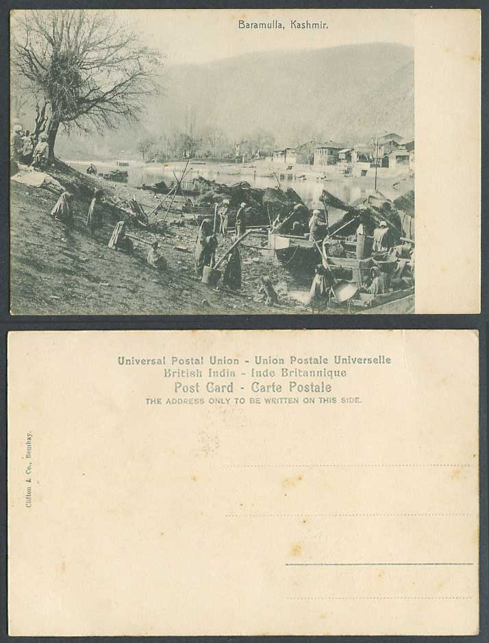 Pakistan Old Postcard Baramulla Kashmir Native Boats River Large Mortar & Pestle