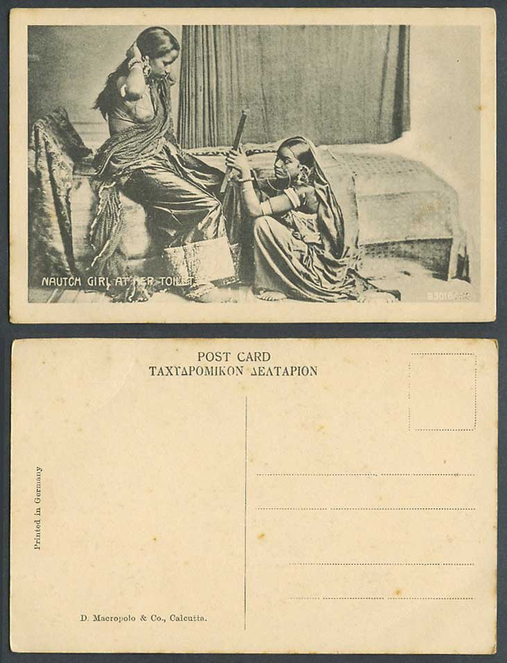 India Old Postcard Nautch Girl at Her Toilet Native Indian Dancing Women Dancers