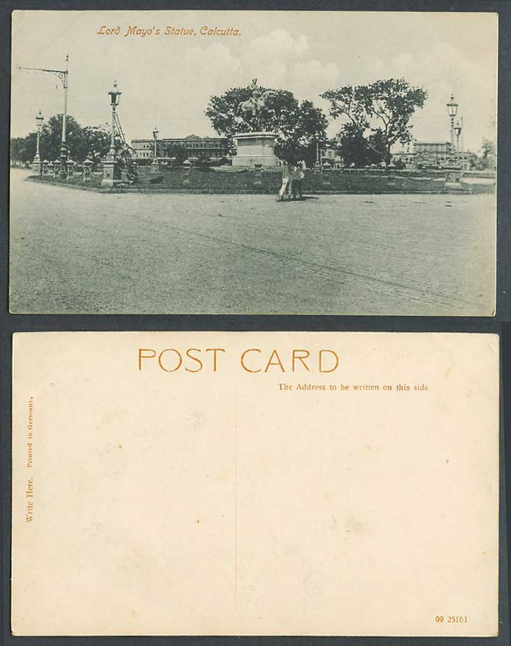 India Old Postcard Lord Mayo's Statue Calcutta Street Scene Horse Rider Memorial