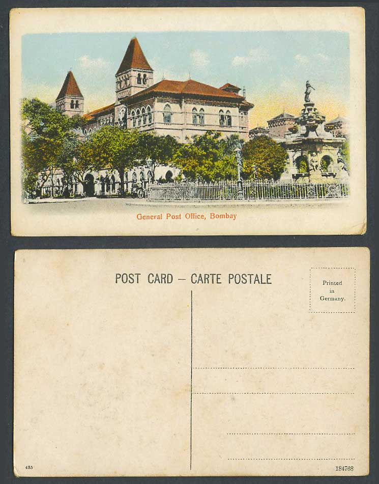 India Old Colour Postcard General Post Office G.P.O. GPO Brit. Indian 435 184768