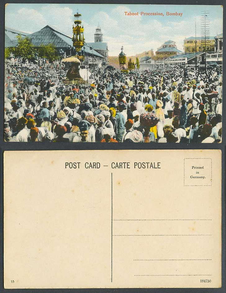 India Old Colour Postcard Taboot Procession Bombay Festival Crowded Street Scene