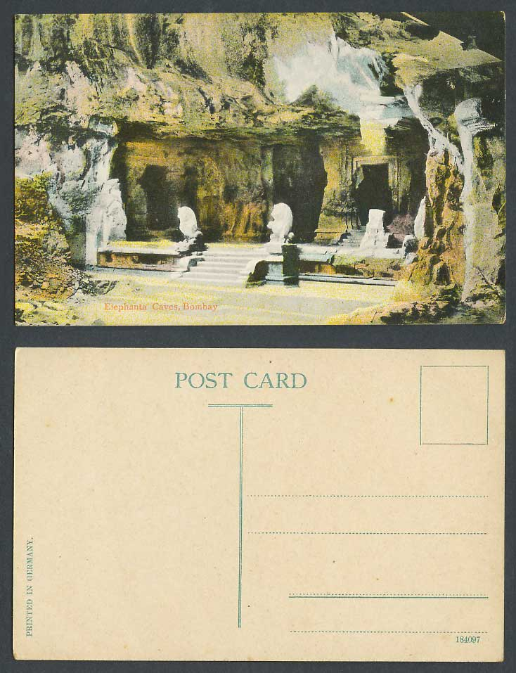 India Old Colour Postcard Elephanta Caves Bombay Lion Statue Steps Cave Entrance