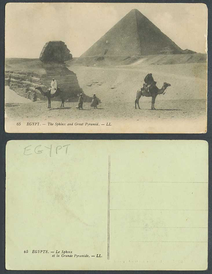 Egypt Old Postcard Sphinx Great Pyramids Giza Camel Riders Grande Pyramide LL 65