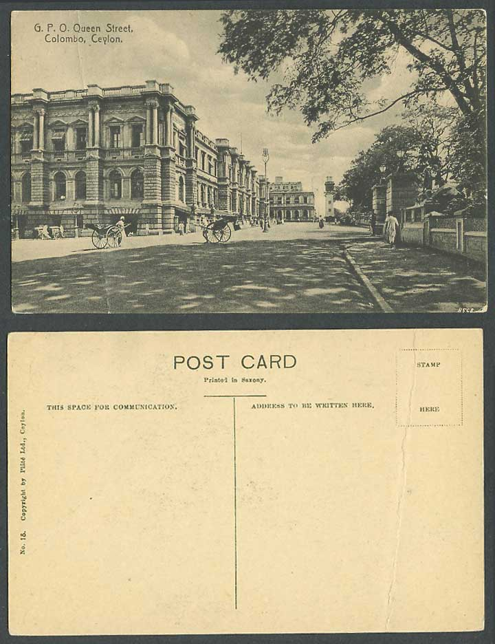 Ceylon Old Postcard G.P.O. GPO General Post Office Colombo Queen Street Scene 18