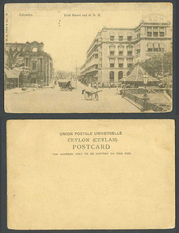 Ceylon Old UB Postcard York Street Scene and G.O.H. Grand Oriental Hotel Colombo