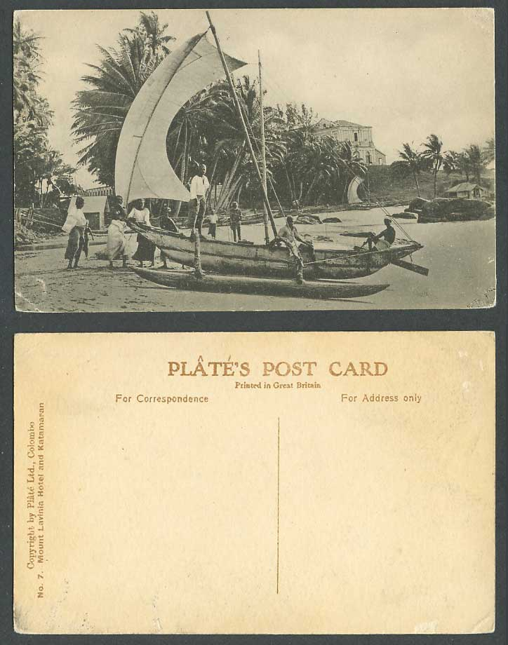 Ceylon Old Postcard Mount Lavinia Hotel and Katamaran Fishing Boat Colombo Beach